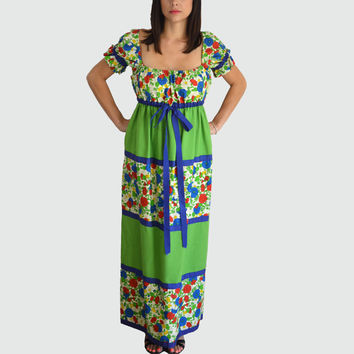 70's Vintage Maxi Peasant Dress/ Empire Waist/ Green and Floral Print Square Neckline/ by Mr Hank