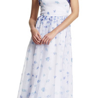 Strapless Floral Printed Organza Ball Gown - Adrianna Papell