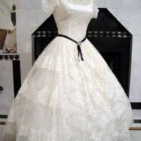 Vtg 50s Lace TULLE Wedding Party Prom Dress S 26w | eBay