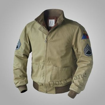Trendy 2018 FURY SAME Replica M41 TANK PATCH POCKET Jacket Vintage Wool WW2 Mens Military Coat Army Fall/Spring Outwear 36-44# AT_94_13