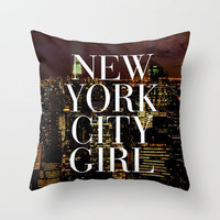 New York City Girl Manhattan Skyline Throw Pillow by Rex Lambo | Society6