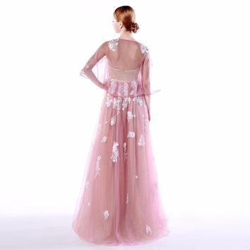 Tulle Strapless Empire A Line Long Prom Dresses Backless Appliques Flowers Floor Length Prom Dress