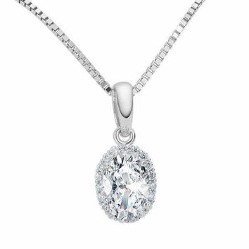 Layla .75CT Oval Cut Halo IOBI Cultured Diamond Pendant