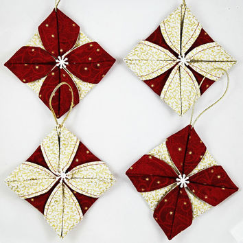 Fabric Christmas Ornaments, Quilted Christmas Ornaments, Snowflake Ornaments, Set of 4 Xmas Tree Ornaments, Handmade Xmas Decor
