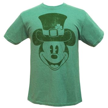 Disney Men's Mickey Mouse Leprechaun Hat Distressed Graphic Shamrock Heather T-Shirt