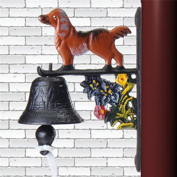 New Arrival Vintage Style Rusted Dog Cast Iron Door Bell Wall Mounted Home Garden Decoration Ornament Craft