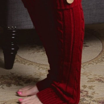 Cable Cuffs   Burgundy