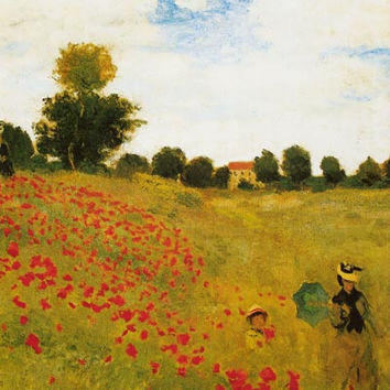 Claude Monet Poppies Near Argenteuil Art Poster 24x36