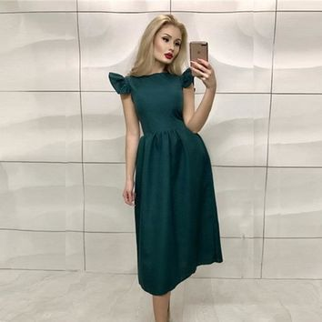 New Arrivals Summer Dress 2018 Women Elegant Bohemian Prom Midi Dress Ruffle Casual Vintage Party Long Dresses Plus Size vestido