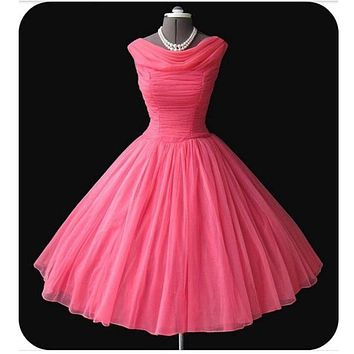 Vintage 1950s  Pleats Capped Sleeves Tulle Prom Dress Short Custom Made Dress For Evening Party Dresses Short vestidos de festa