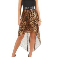 Hi Low Belted Tube Dress with Animal Print Skirt: Dots.com