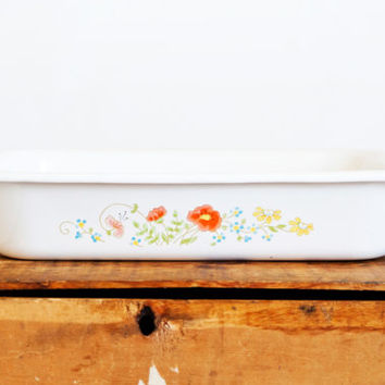 Vintage Corning Ware Wildflower Open Roaster Casserole, Orange Flower Roasting Pan Lasagna Baking Dish, A-21, 12x10 inch