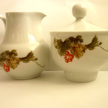 Creamer-Sugar set, Porcelain set of Creamer -Covered Sugar Bowl,made by 1777 Henneberg Porzellan Bavaria