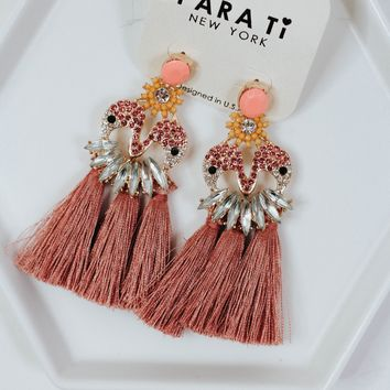 Let's Live Mauve Fringe Earrings