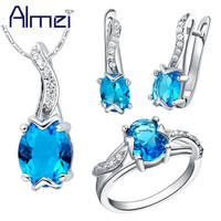 Almei Sapphire Jewelry Set 925 Sterling Silver Zircon Bijoux Cute Turtle Red Crystal Wedding Accessories Party For Women T232