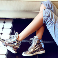 Stylish Shiny High Top Casual Sneakers