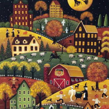 Folk Art Halloween Card - Halloween Night in Hilly Saltbox Village- Custom 5 x 7 Greeting Card or Blank Card -Choose Your Own Inside Message