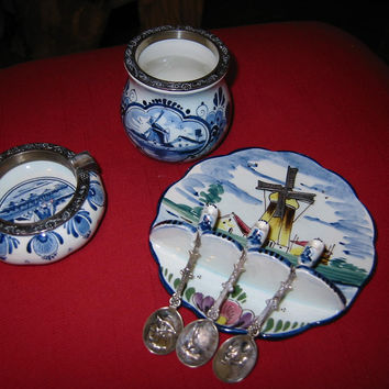 Elesva Delfts Polychrome Suite Hand Painted Holland Dutch Windmill Ashtray Spoons