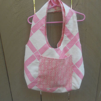 Reversible pink and white diaper bag, tote bag, purse