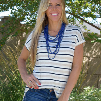 Merriam V Neck Striped Tee - Navy