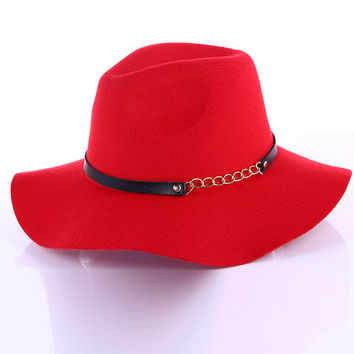 Korean Autumn Chain Casual Wool Men Hats [4917645444]