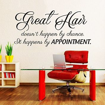 Great Hair doesn't happen by chance Wall Decal Quote Beauty Hair Salon Decor Makeup Cosmetic Hairdressing Wall Decals Interior NV190 (10x22)