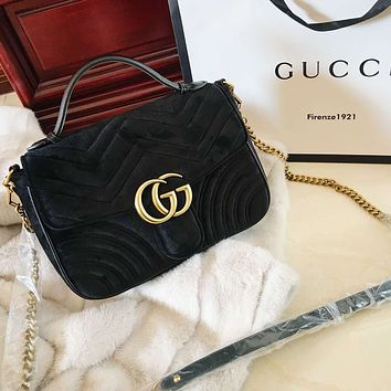 """GUCCI"" High Quality Fashionable Velvet Leather Metal Chain Handbag Shoulder Bag Crossbody Black"
