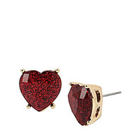 HEARTS AND ARROWS GLITTER HEART STUD EARRINGS: Betsey Johnson