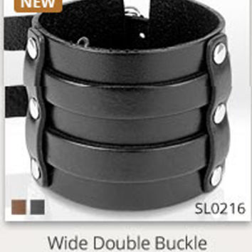 Doublewide Buckle Black Leather Bracelet