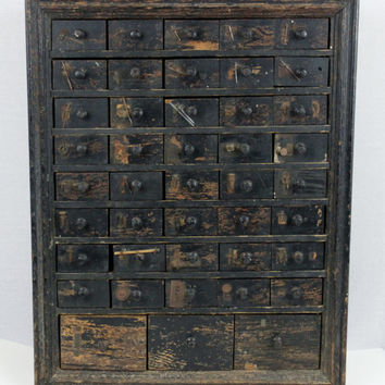 1918 Antique 43 Drawer Hardware Cabinet, Apothecary Storage Cabinet