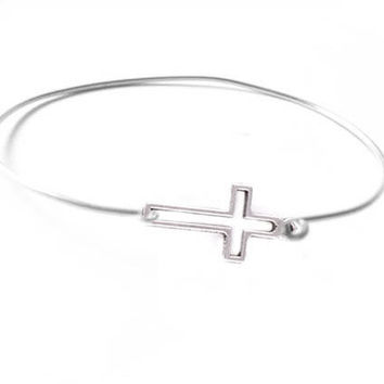 Sideway Silver Cross Bracelet Bangle in your size religious Jewelry gift for birthday wedding