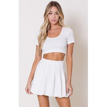 Short Sleeve Flared Two Piece Set