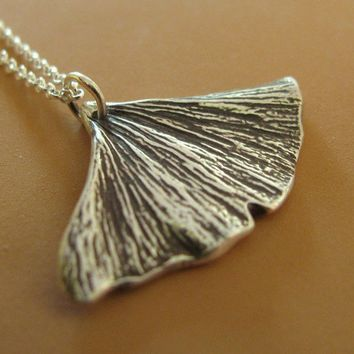 Ginkgo Leaf Necklace Sterling Silver by esdesigns on Etsy