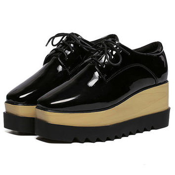 Faux Pantent Lace-up Flatform Oxford Flats