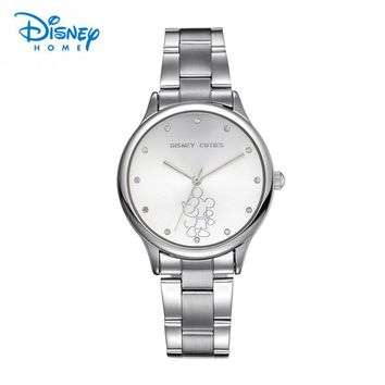 Disney Women Watches Luxury Stainless Steel Watch Band Fashion & Casual Quartz Wristwatches Mickey Mouse 2017 Top Brand Watch