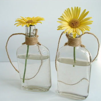 Vintage Clear Glass Canteen Bottles with Twine for by ThirdShift