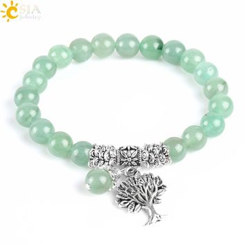 CSJA New Meditation Green Aventurine Women Bracelets Natural Stone Yoga Mala Prayer Rosary Beads Healing Reiki Tree of Life E748