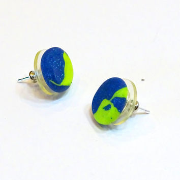 Lime green and blue abstract stud earrings,small modern stud earrings, bright colored stud earrings
