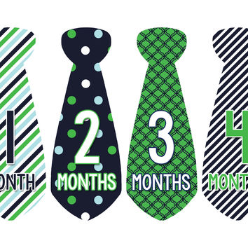 Baby Boy Monthly Necktie Milestone Birthday Tie Stickers Style #703
