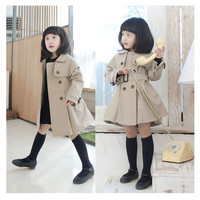 Fashion Children's Trench Coat Kids' Wind Coat Girls' Outwear long wind jacket Toddlers' long sleeve Peacoat
