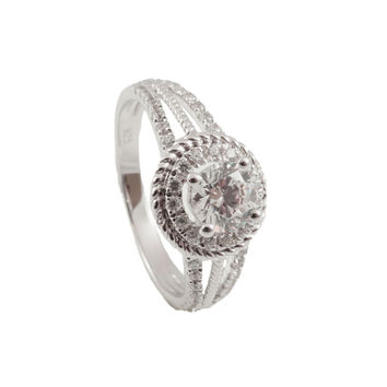 Sterling Silver  CZ & Rhodium Plated ring for Woman