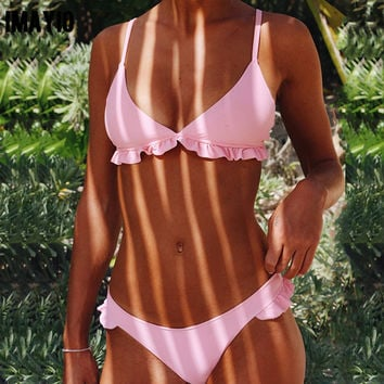 Floralkini Solid Bralette Triangle Ruffle Bikini 2017 Sexy Summer Beach Pink Swimsuit Women Padded Swimwear girls swimming suit