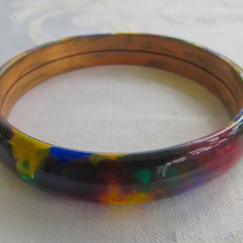 Vintage Bangle Bracelet Enamel on Copper Multicolor Enamel 1960s Mod Jewelry
