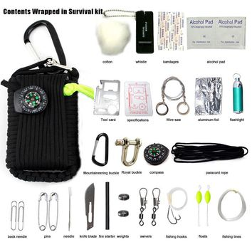 New Self Defense To Survive 29-One Survival Kit Outdoor Survival Kit Survival Plug Wire Saw Umbrella Rope Hand Playing Poker