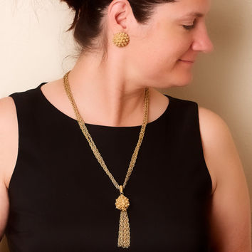 Vintage Monet Tassel Necklace and Clip On Earring Set
