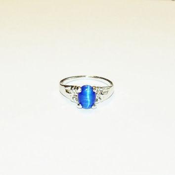 Vintage Ring Similated Star Sapphire Ladies Sz 6 Bridal Party Prom Jewelry Jewellry Gift for Her