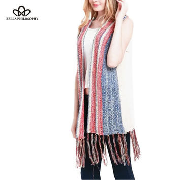2016 autumn winter ethnic vintage striped knitted sweater vest with fringing tassels