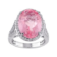 Pink Quartz & White Topaz Sterling Silver Oval Halo Ring