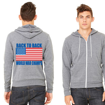 Back To Back World War Champs American Flag Design Zipper Hoodie