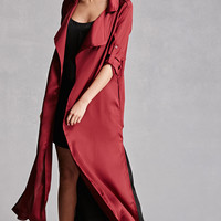 Belted Satin Trench Coat